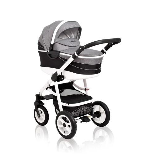 Otroški voziček CoTo Baby Aprilia 3v1 - len črno siv