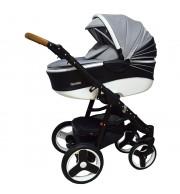 Otroški voziček CoTo Baby Quara 3v1 - eko črno/bel