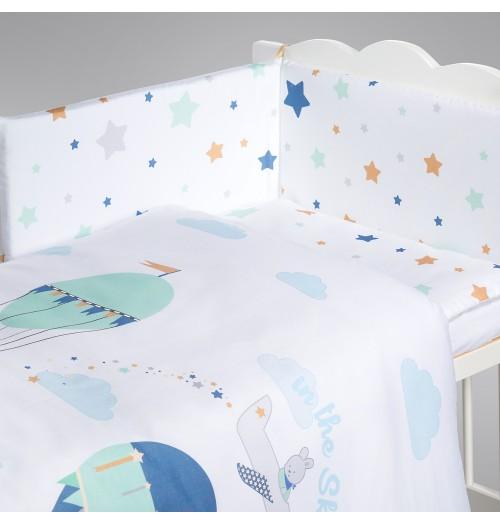Posteljnina za otroško posteljico AlberoMio baloni in zvezdice (5 delna)