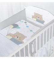 Posteljnina za otroško posteljico AlberoMio medvedek z baloni siv (5 delna)