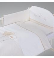 Posteljnina za otroško posteljico AlberoMio medvedkove sanje bež (5 delna)