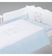 Posteljnina za otroško posteljico AlberoMio sladki medvedek (5 delna)