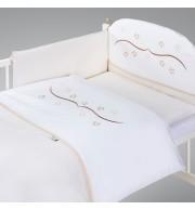 Posteljnina za otroško posteljico AlberoMio zvezdice bež (5 delna)
