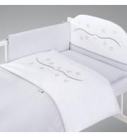 Posteljnina za otroško posteljico AlberoMio zvezdice siva (5 delna)