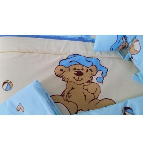 Posteljnina za dojenčka BabyWiege 5 delna modra