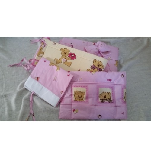 Posteljnina za dojenčka BabyWiege 5 delna roza