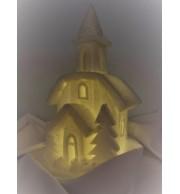 Dekorativna cerkvica iz vate in klobučevine z razsvetljavo