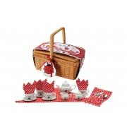 Čajni set iz porcelana s košarico za piknik Pikapolonica