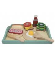 Servirna mizica z živili za zajtrk