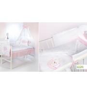 Posteljnina za otroško posteljico Klupś Speči Medvedek Roza (6 delna)