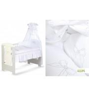 Posteljnina za otroško posteljico Klupś Pentljica - bela (6 delna)