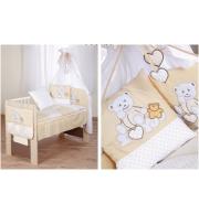 Posteljnina za otroško posteljico Klupś Medvedek Rad te Imam - Krem (6 delna)