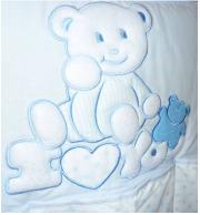 Posteljnina za otroško posteljico Klupś Medvedek Rad te Imam - Modra (6 delna)