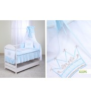 Posteljnina za otroško posteljico Klupś Krona - Modra (6 Delna)