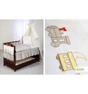 Posteljnina za otroško posteljico Klupś Vlakec (6 delna)