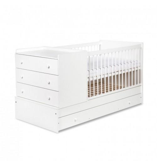 Otroška posteljica Klupś Kompakt: posteljica in previjalna miza bela