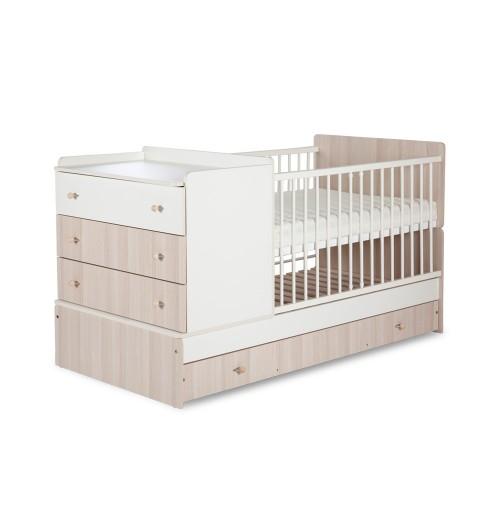 Otroška posteljica Klupś Kompakt: posteljica in previjalna miza beli jesen