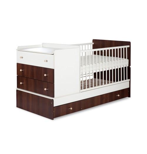 Otroška posteljica Klupś Kompakt: posteljica in previjalna miza oreh