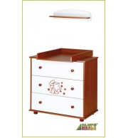 Previjalna miza Klupś Teddy Bear (belo-rdeči les)