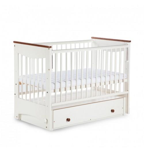 Zibelka in posteljica za dojenčka Klups - Luna - Belo-Rjava 120x60 cm s predalom